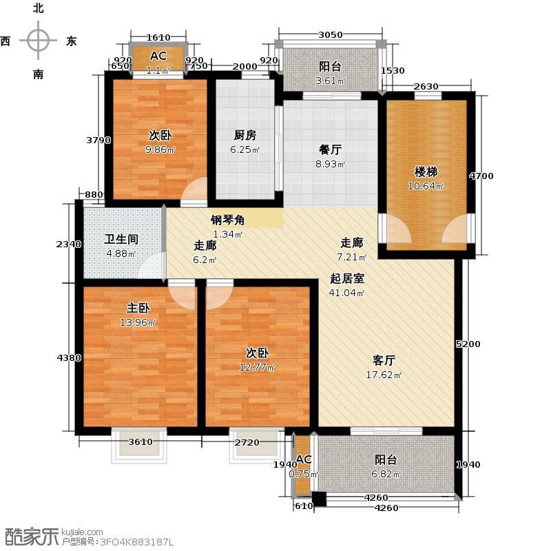 上海大花园上海大花园多层D3户型3室2厅2卫127.00㎡户型3室2厅2卫