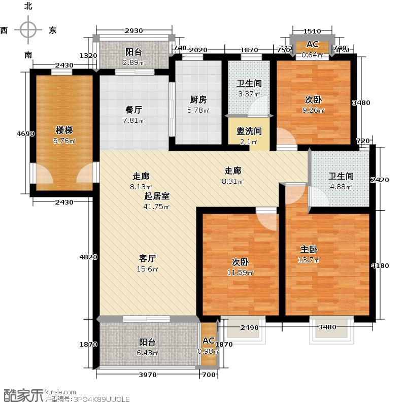 上海大花园D2户型3室2厅2卫1厨 127.00㎡户型
