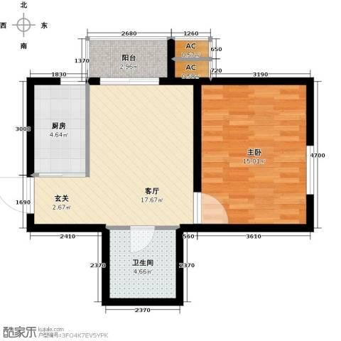 九号国际城1室1厅1卫1厨53.00㎡户型图