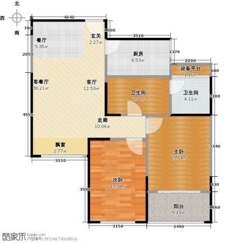 正元怡居2室1厅2卫1厨87.00㎡户型图