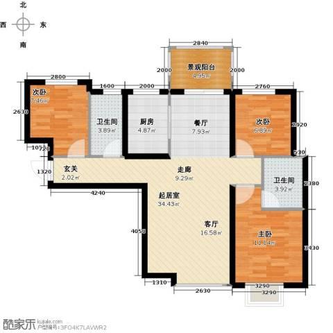 东方太阳城3室0厅2卫1厨88.12㎡户型图