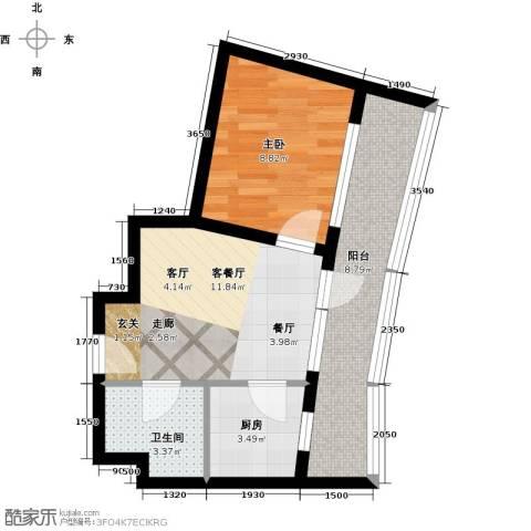 海天翼1室1厅1卫1厨54.00㎡户型图