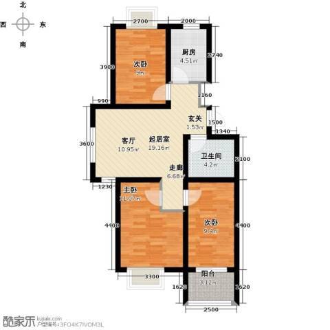 海通港城花园3室0厅1卫1厨79.00㎡户型图