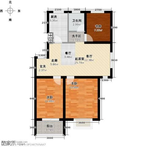 海通港城花园3室0厅1卫1厨92.00㎡户型图