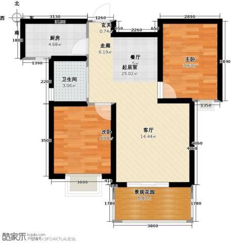 东方太阳城2室0厅1卫1厨65.53㎡户型图