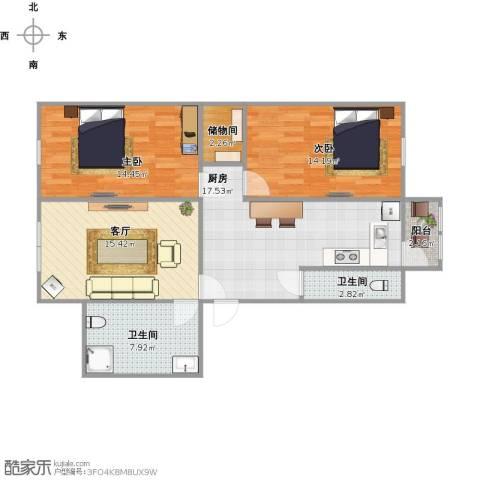 民富小区2室1厅2卫1厨104.00㎡户型图