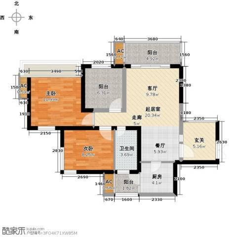 金沙世纪城2室0厅1卫1厨99.00㎡户型图