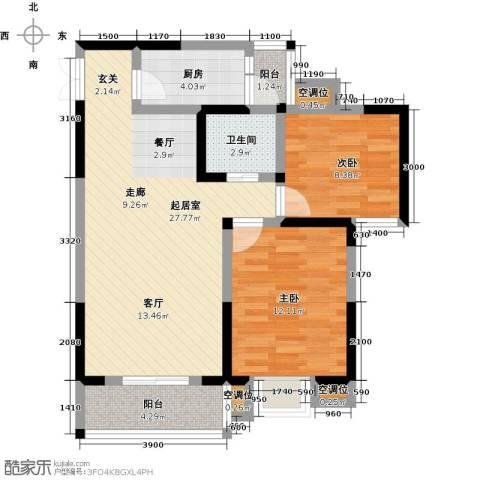 瑞麟国际新城2室0厅1卫1厨81.00㎡户型图