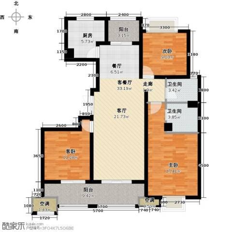 邦泰中央御城3室1厅2卫1厨131.00㎡户型图
