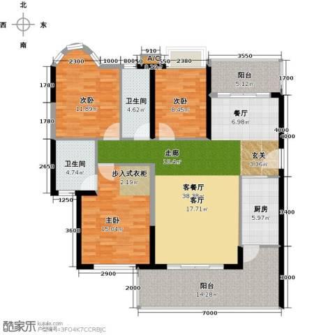 锦盛恒富得3室1厅2卫1厨136.00㎡户型图