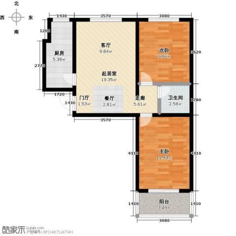 水岸金城2室0厅1卫1厨75.00㎡户型图