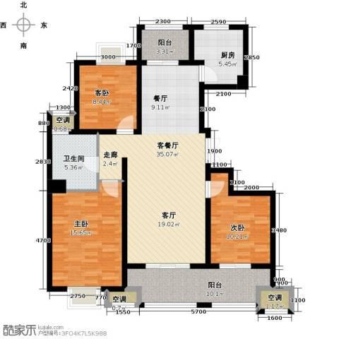 邦泰中央御城3室1厅1卫1厨120.00㎡户型图