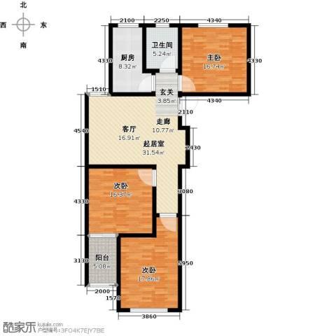 中房青年城3室0厅1卫1厨115.00㎡户型图