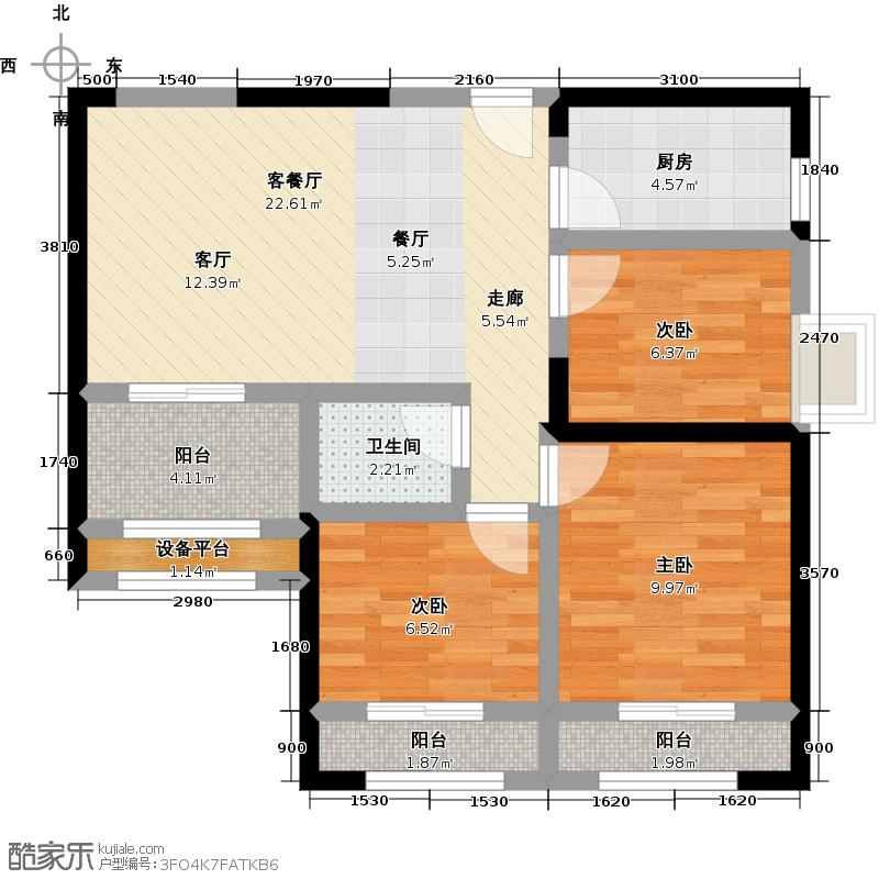 水晶湖郡95.00㎡高层B户型6#A梯02-B梯02单元户型3室2厅1卫