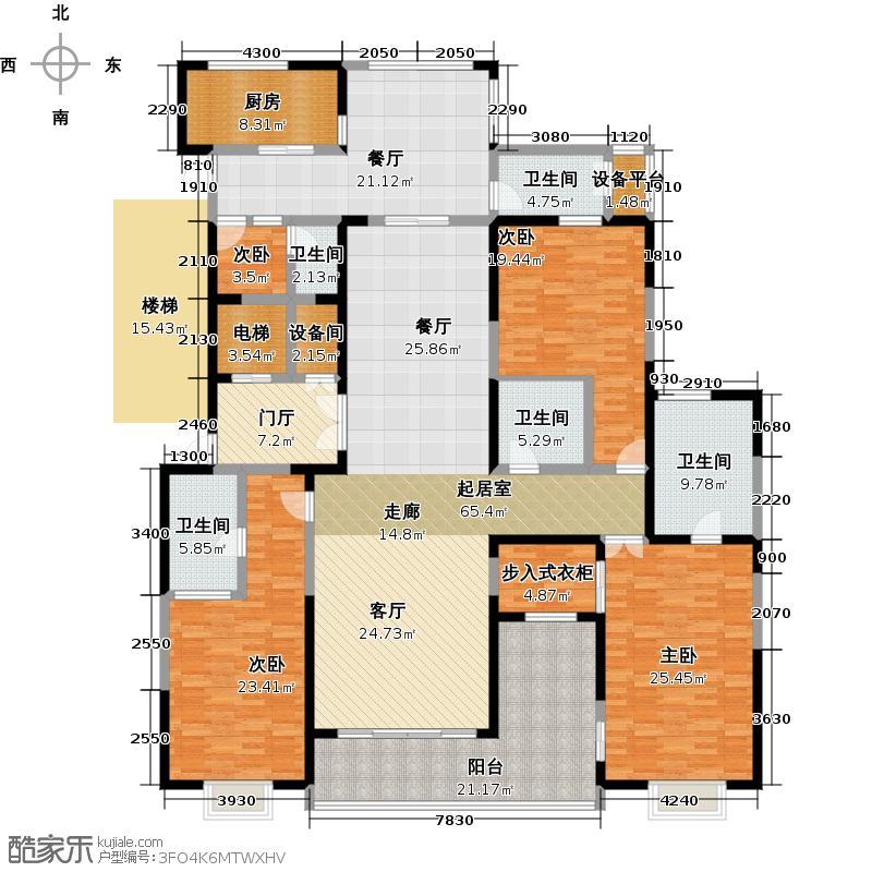 自在山E户型2室4厅3卫户型2室4厅3卫