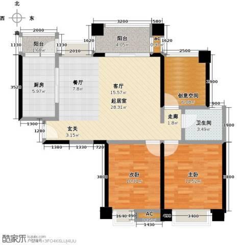 保利香槟国际2室0厅1卫1厨91.00㎡户型图