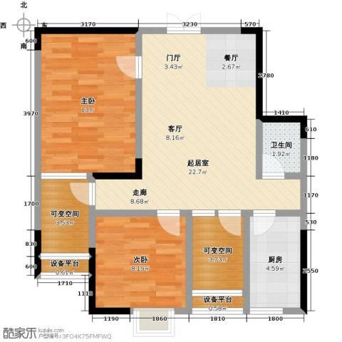 东湖尚�2室0厅1卫1厨84.00㎡户型图