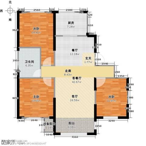 中海御湖熙谷3室1厅1卫1厨114.00㎡户型图
