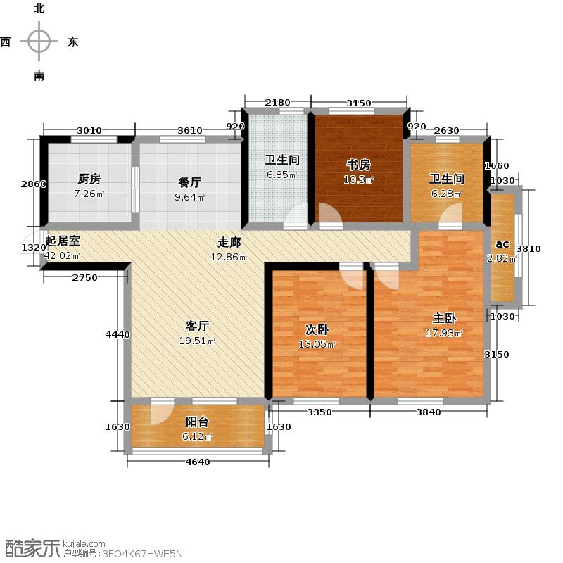 钻石湾130.00㎡三室二厅二卫户型3室2厅2卫