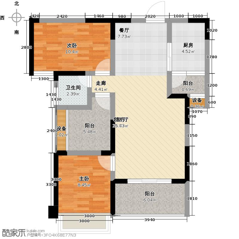 芒果天地88.60㎡E-3户型两房两厅一卫户型2室2厅1卫