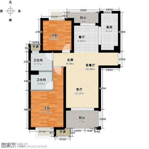 邦泰中央御城2室1厅2卫1厨100.00㎡户型图
