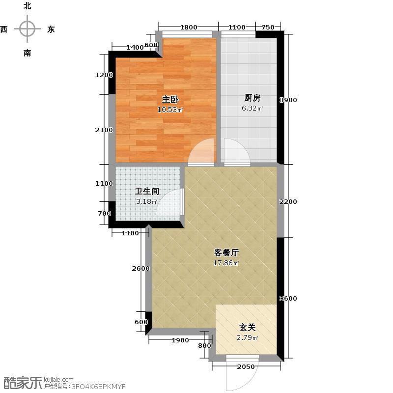 阳光100国际新城52.61㎡A5 一室两厅一卫户型1室2厅1卫