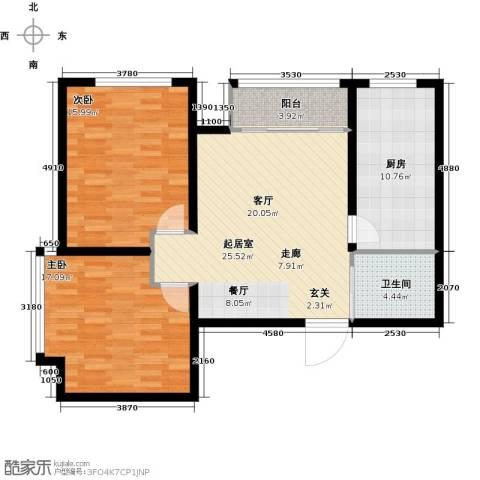 骏龙花园2室0厅1卫1厨85.00㎡户型图