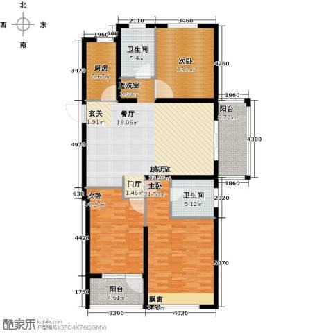 华明星海湾3室0厅2卫1厨126.00㎡户型图
