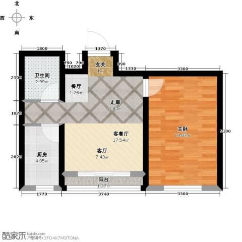 卓扬北湖湾1室1厅1卫1厨60.00㎡户型图