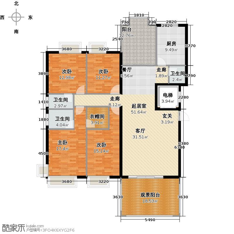 星湖豪景5幢标准层07-08户型4室3卫1厨