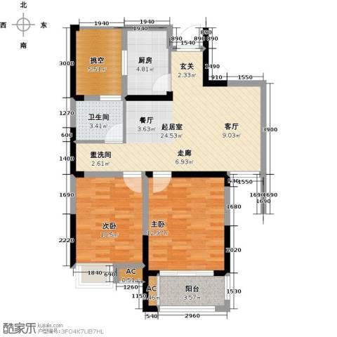 御景城2室0厅1卫1厨79.00㎡户型图