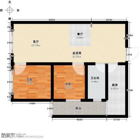 高新大都荟2室0厅1卫1厨89.00㎡户型图