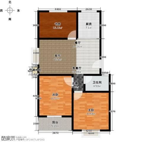 恋日晴园3室1厅1卫1厨127.00㎡户型图