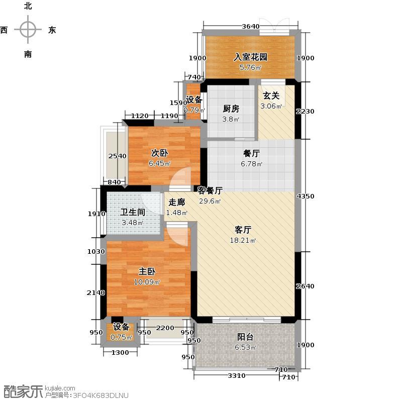 芒果天地78.85㎡F-3户型两房两厅一卫户型2室2厅1卫