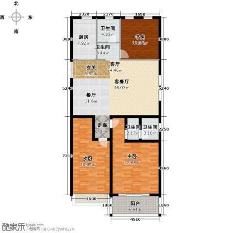 正德广场3室1厅3卫1厨152.00㎡户型图
