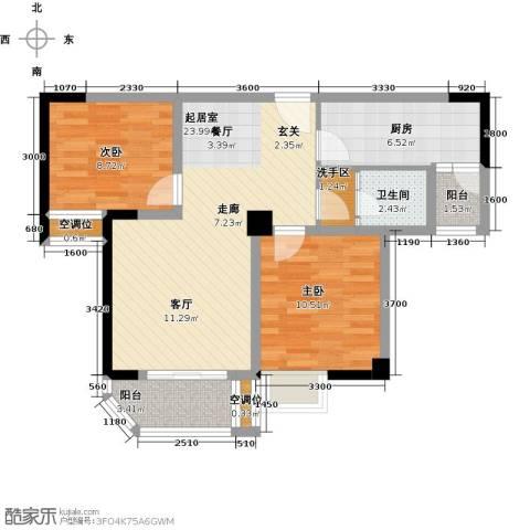 凯江新城2室0厅1卫1厨88.00㎡户型图