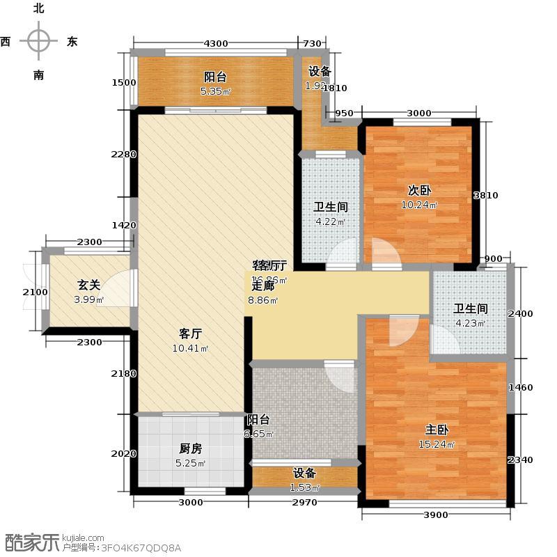 江河东澜湾115.11㎡D4户型2室2厅2卫