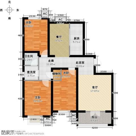 水榭花城3室0厅1卫1厨130.00㎡户型图