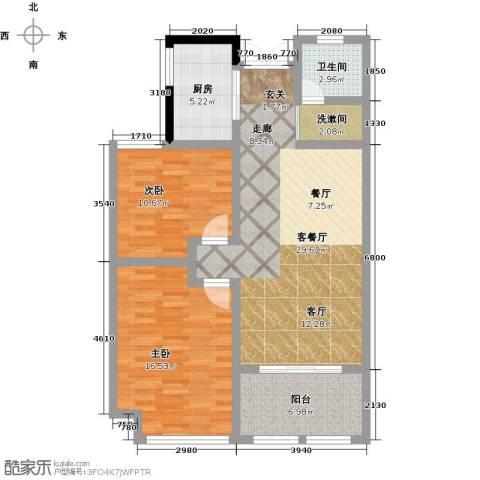 正德广场2室1厅1卫1厨107.00㎡户型图