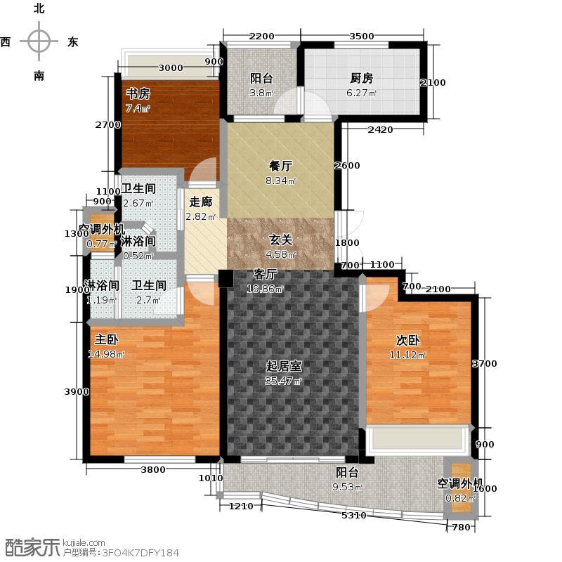 晴湾118.00㎡约118平米 三房两厅两卫户型3室2厅2卫