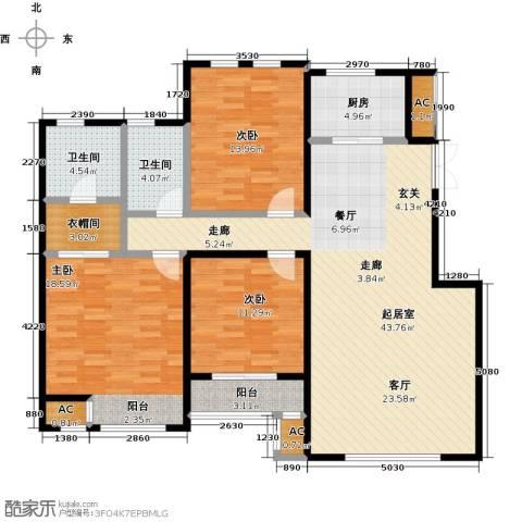 松江城玫瑰郡3室0厅2卫1厨155.00㎡户型图