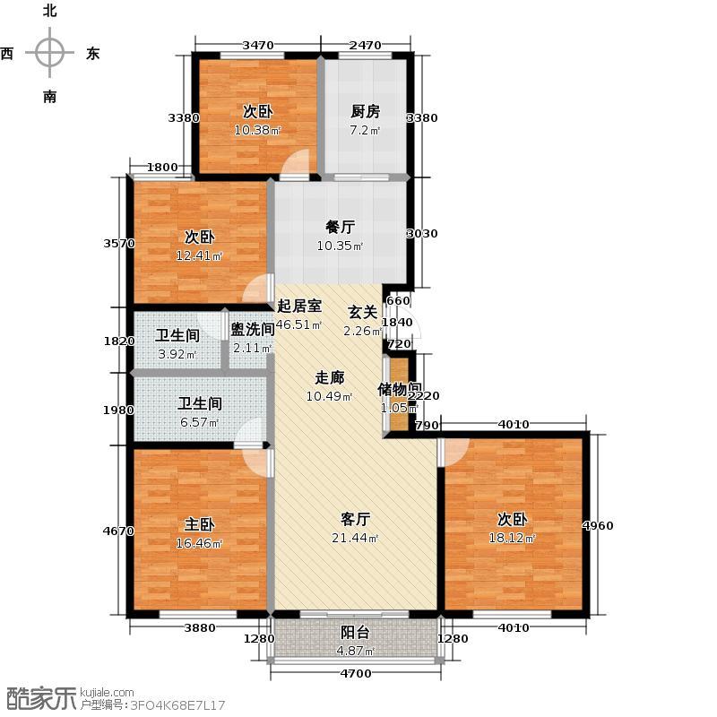 时代天骄178.86㎡四室两厅两卫户型