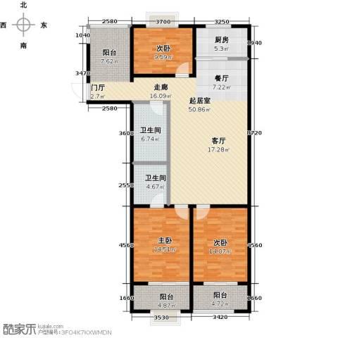 金威怡园3室0厅2卫1厨129.00㎡户型图