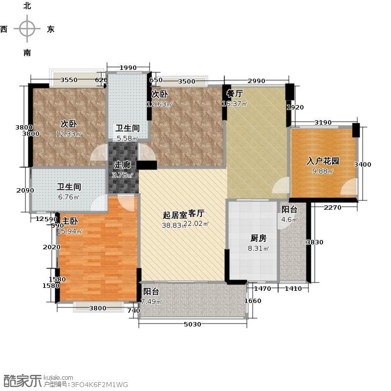 卓越蔚蓝城邦56栋2单元户型3室2卫1厨