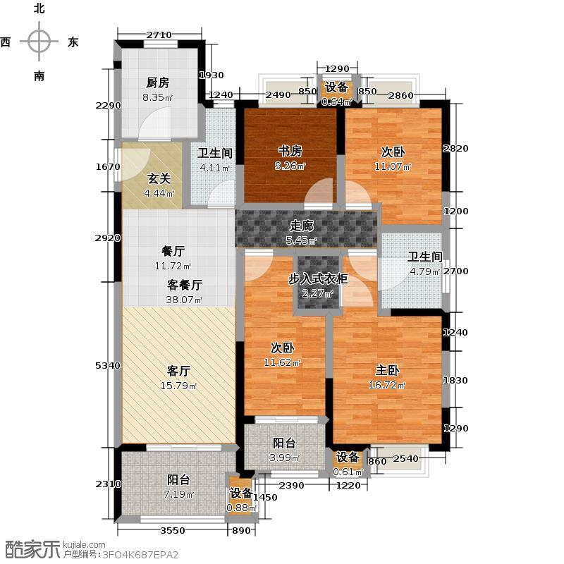 常发御龙山137.05㎡凤廷高层D2户型4室2厅2卫