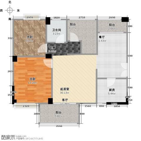 润恒国华瑞景2室0厅1卫1厨92.00㎡户型图