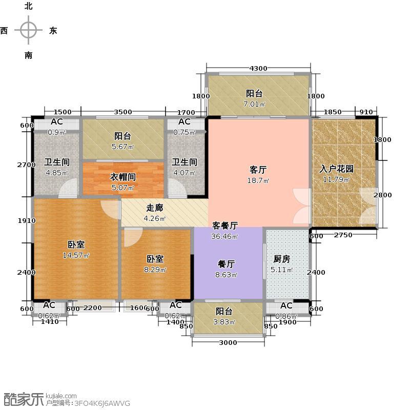 远洋启宸119.00㎡36栋01户型图户型3室2厅2卫