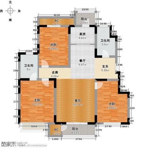 领世公馆3室1厅2卫1厨142.00㎡户型图
