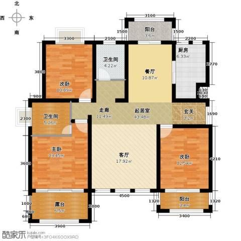 凤凰水城3室0厅2卫1厨143.00㎡户型图