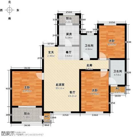 松江城玫瑰郡3室0厅2卫1厨140.00㎡户型图